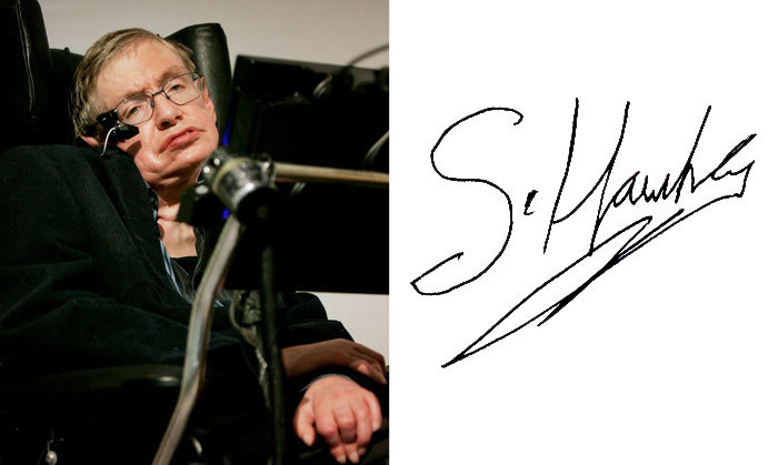 Стивен Хокинг и его подпись