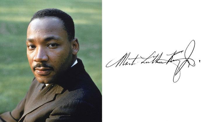 Мартин Лютер Кинг и его подпись