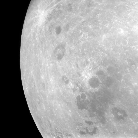 Вид на Луну, открывающийся с Аполлона-11, 1969 год