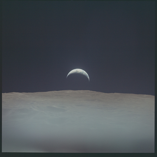 Аполлон-12. Вид на Землю с поверхности Луны, 1969 год