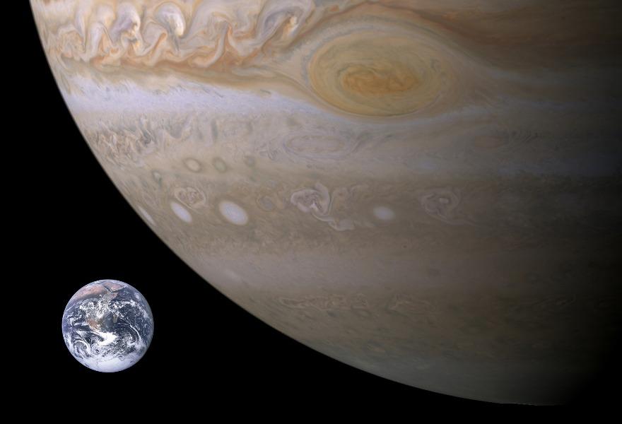 Визуальное сравнение Юпитера, Земли и Большого Красного Пятна
