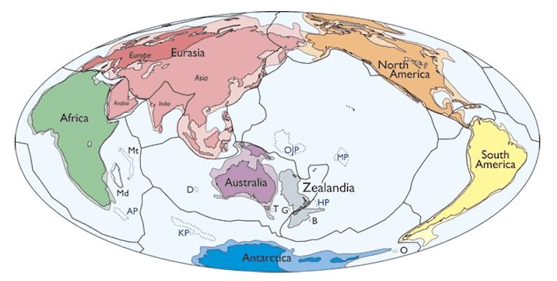 Карта литосферных плит и континентов, включая Зеландию