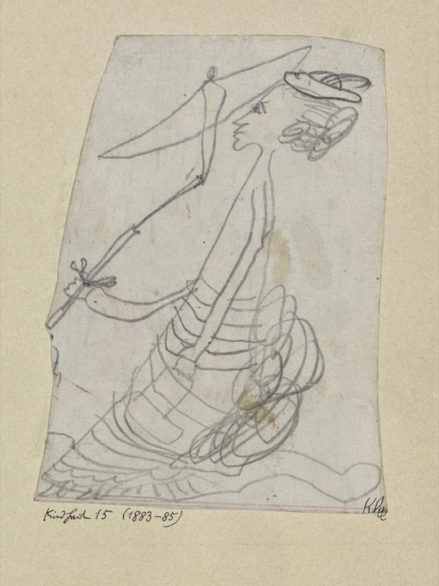 Пауль Клее, детский рисунок дамы с зонтиком (4-6 лет)
