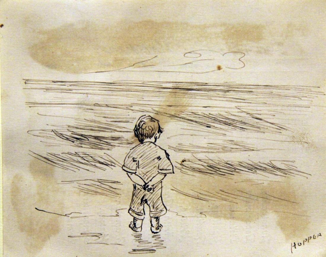 Эдвард Хоппер, эскиз мальчика, смотрящего на море (9 лет)