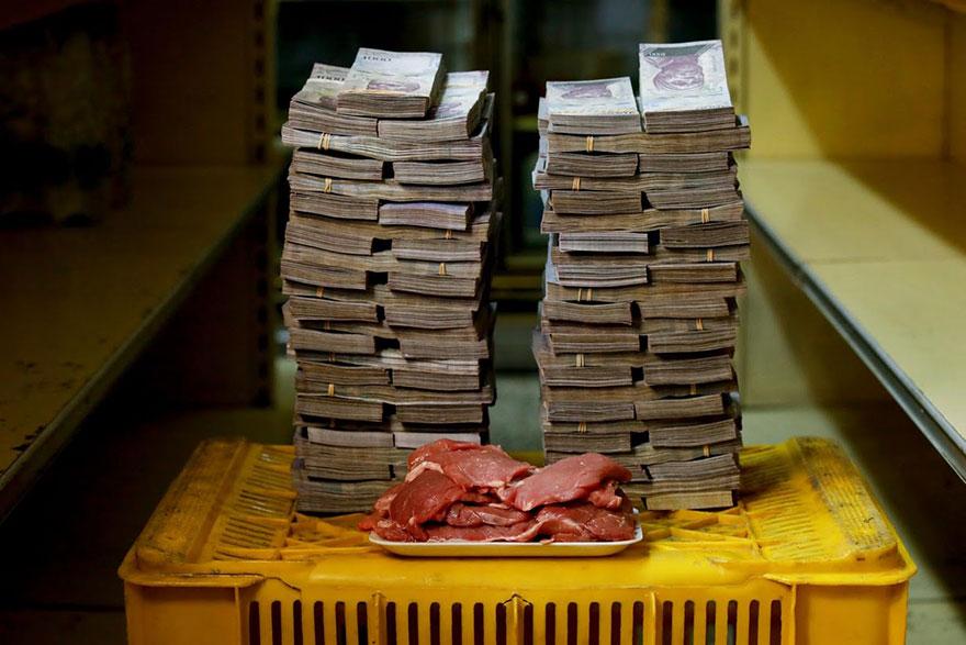 1 кг. мяса = 9,5 млн. боливаров ≈ 1,45 долларов