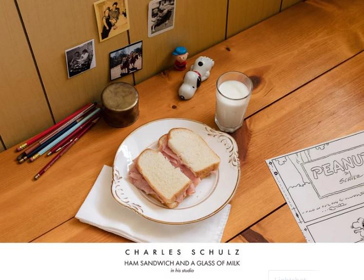Художник-карикатурист Чарльз Шульц. Сендвич с ветчиной со стаканом молока