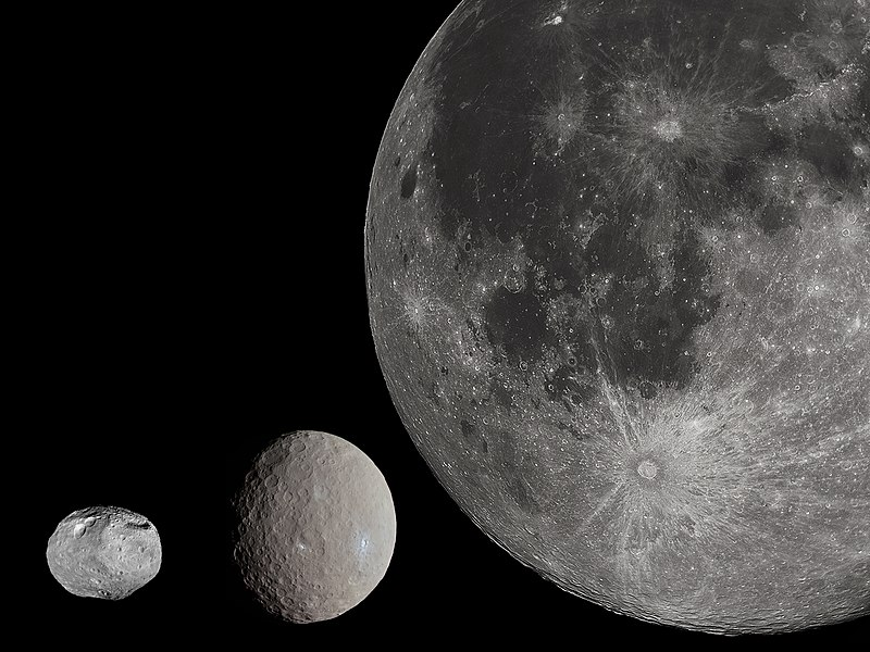 Сравнительные размеры астероида Весты, карликовой планеты Цереры и Луны