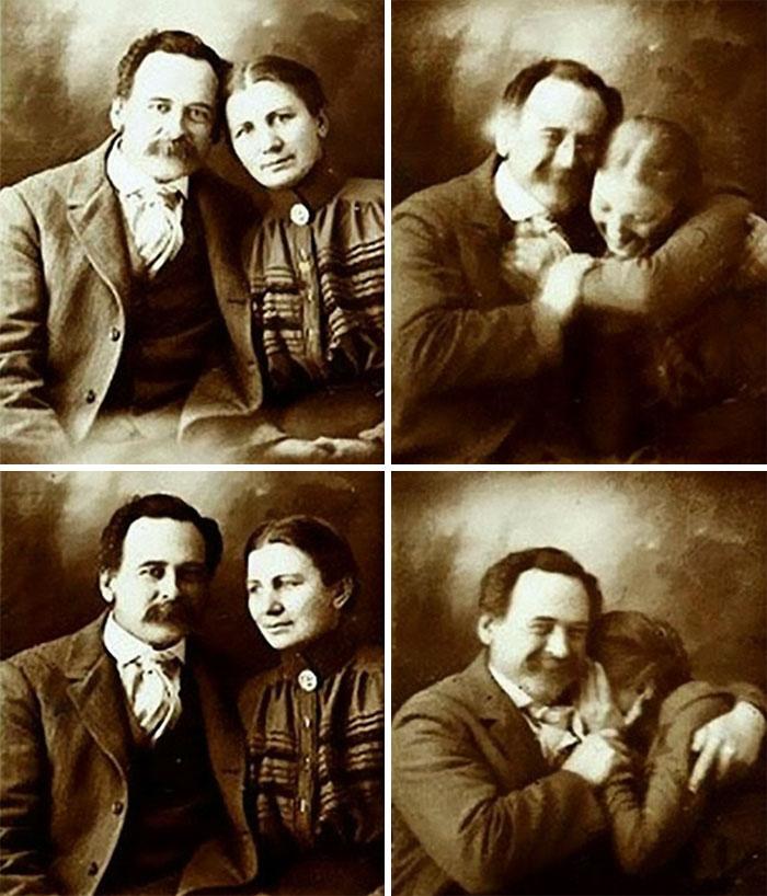 Викторианская эпоха: пара пытается не засмеяться при съёмке семейного портрета, 1890-е годы