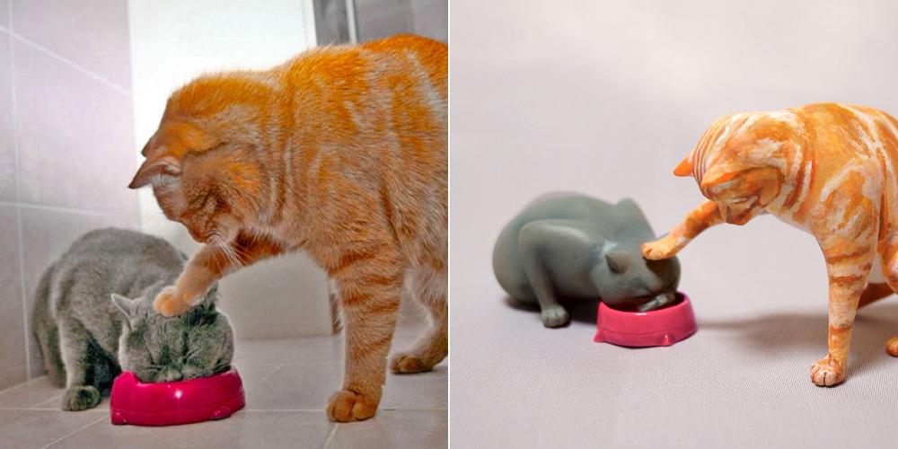 Художник превращает популярные фотографии животных в весёлые скульптуры
