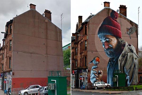 Уличное искусство: радикальное преображение зданий в фотографиях до и после
