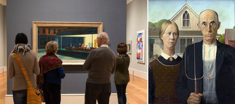 «Полуночники» Эдвард Хоппер и «Американская готика» Грант Вуд: Чикагский институт искусств, Чикаго