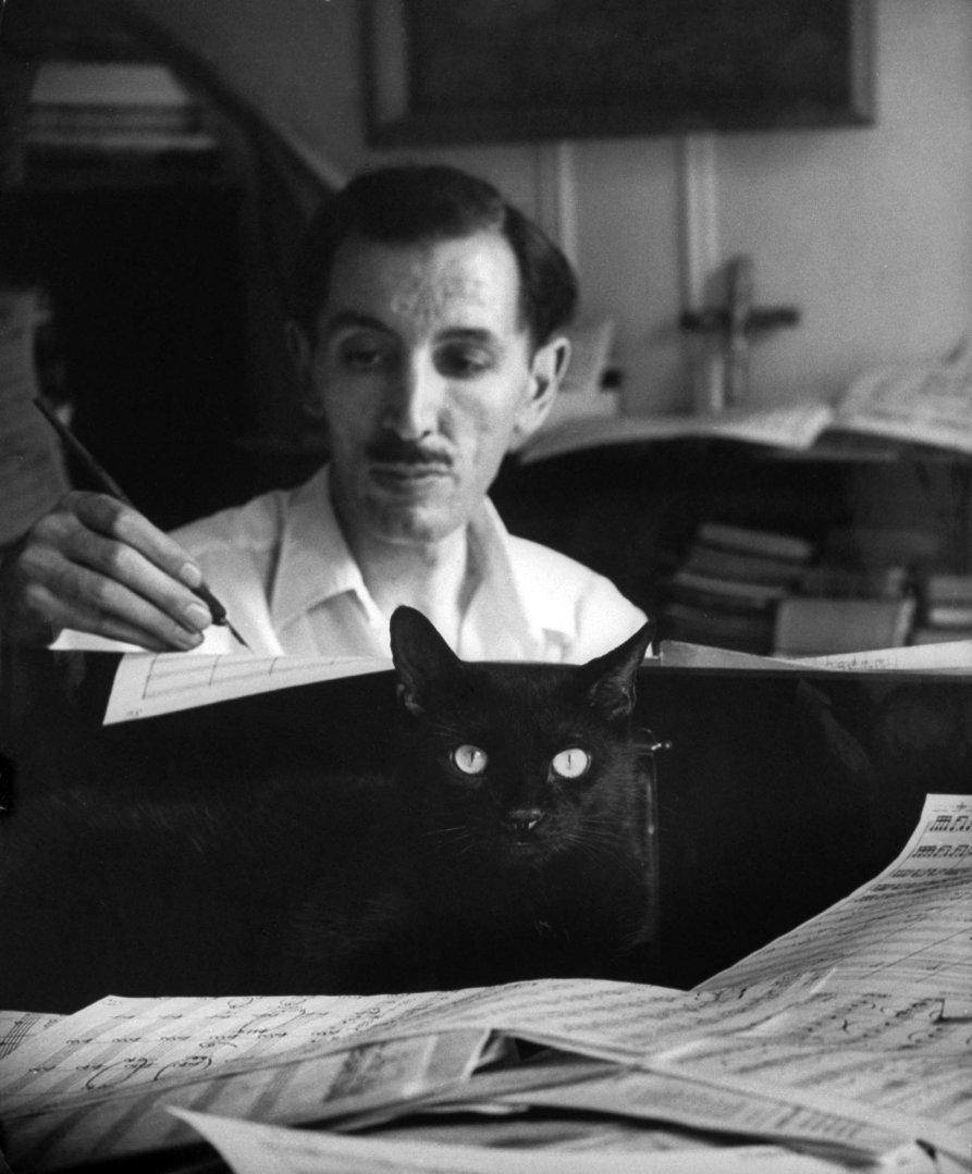 Композитор Алан Ованесс работает в своей студии с чёрным котом, который загнездился в бумагах на фортепиано, 1955 год