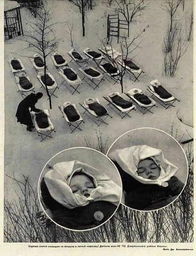 5. Дети спят на свежем воздухе в яслях, Москва