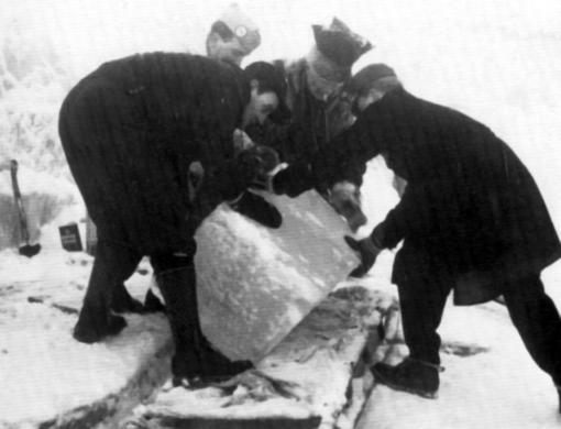 Извлечение льда из ледника Свартисен