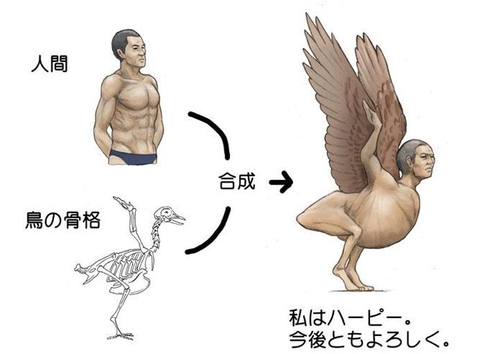 Сатоши Кавасаки изобразил как могла бы выглядеть настоящая гарпия, используя скелет птицы
