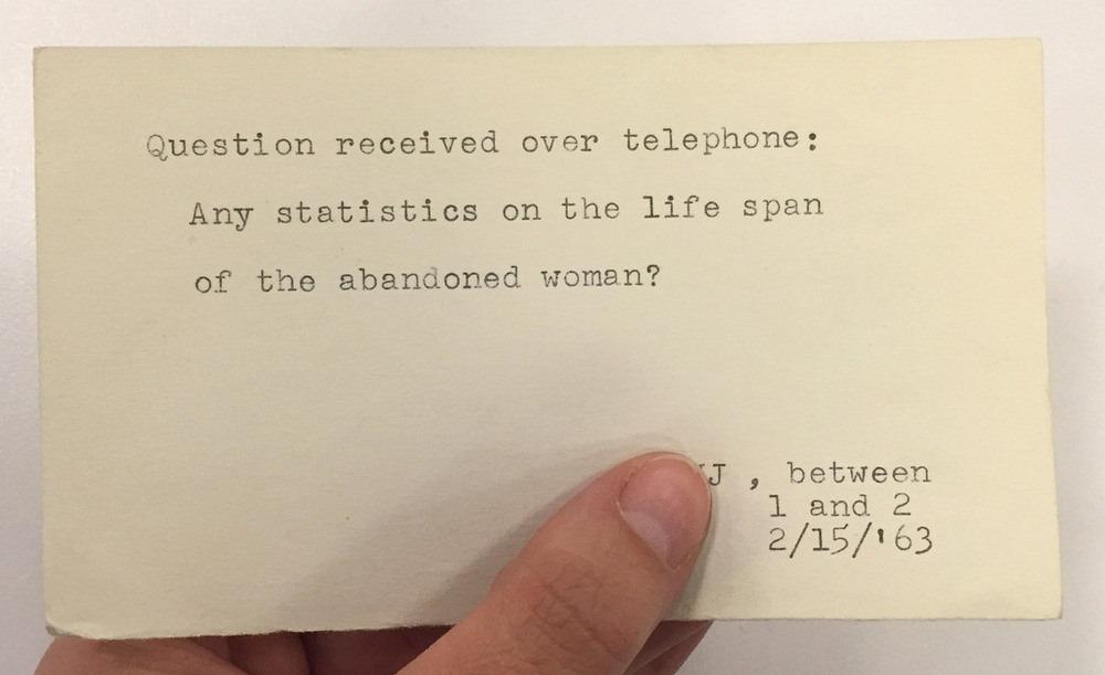 «Есть какие-нибудь статистические данные о продолжительности жизни брошенной женщины?», 1963 год