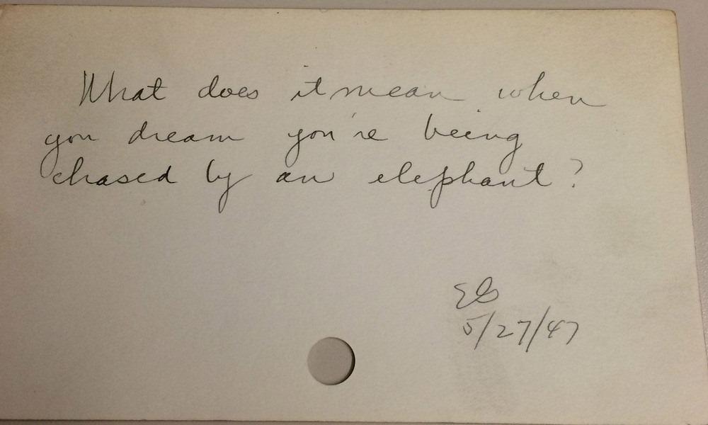 «Что означает сон, в котором вас преследует слон?», 1947 год