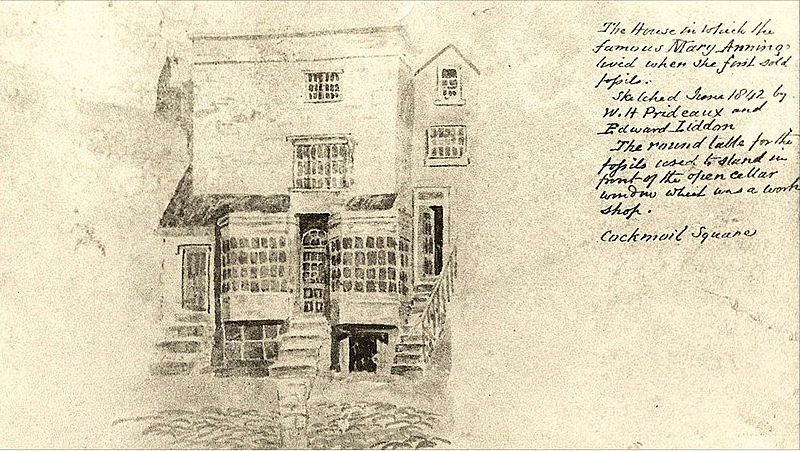 Эскиз дома, где жила Мэри Эннинг
