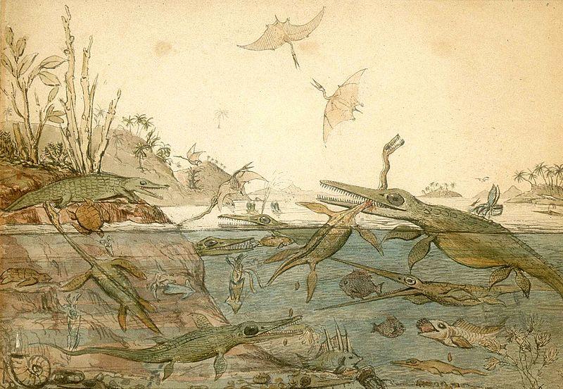 Иллюстрация, основанная главным образом на окаменелостях, найденных Мэри Эннинг