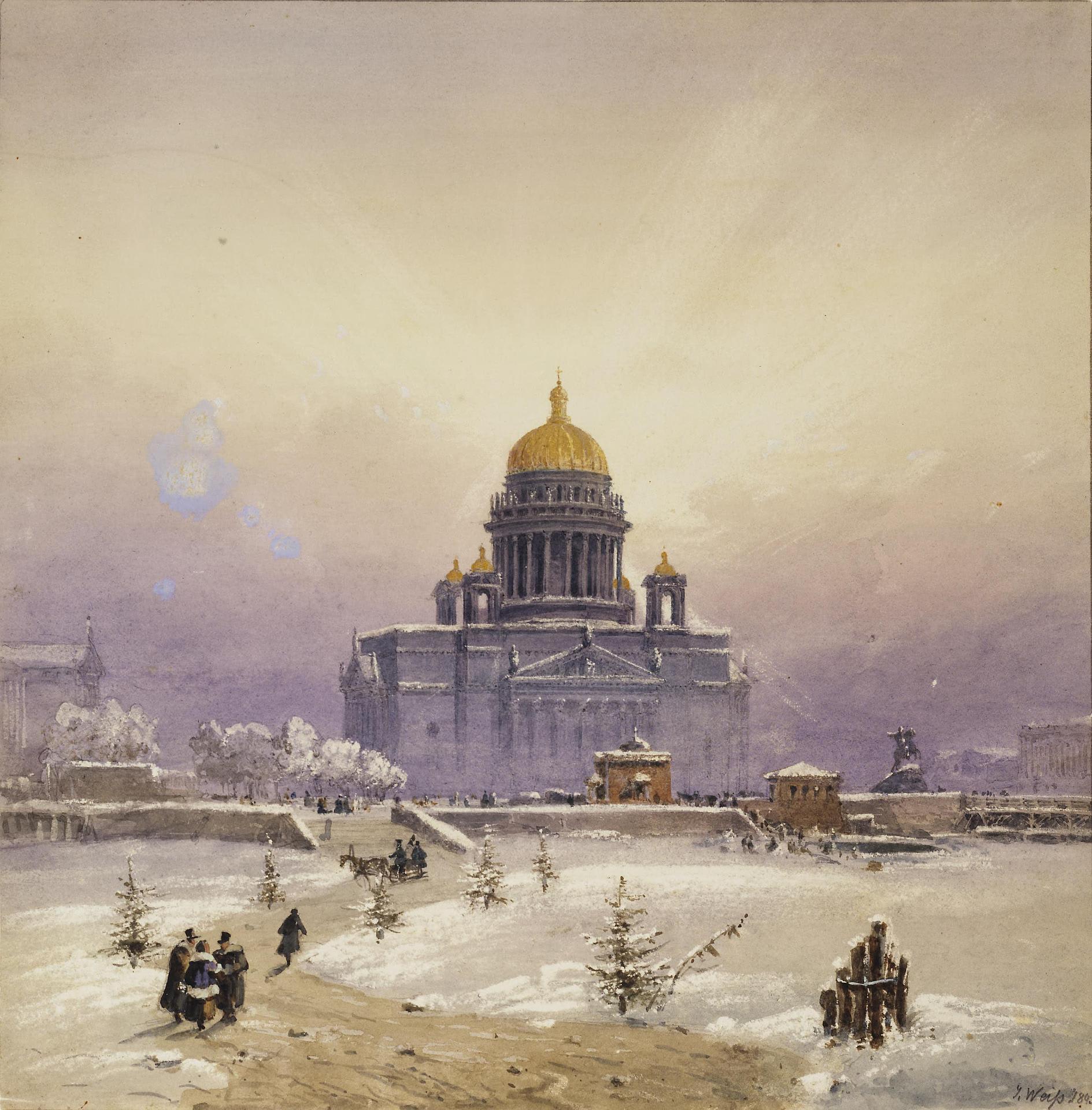 Санкт-Петербург, Исаакиевский собор, 1843 год. Художник Joseph Andreas Weiss