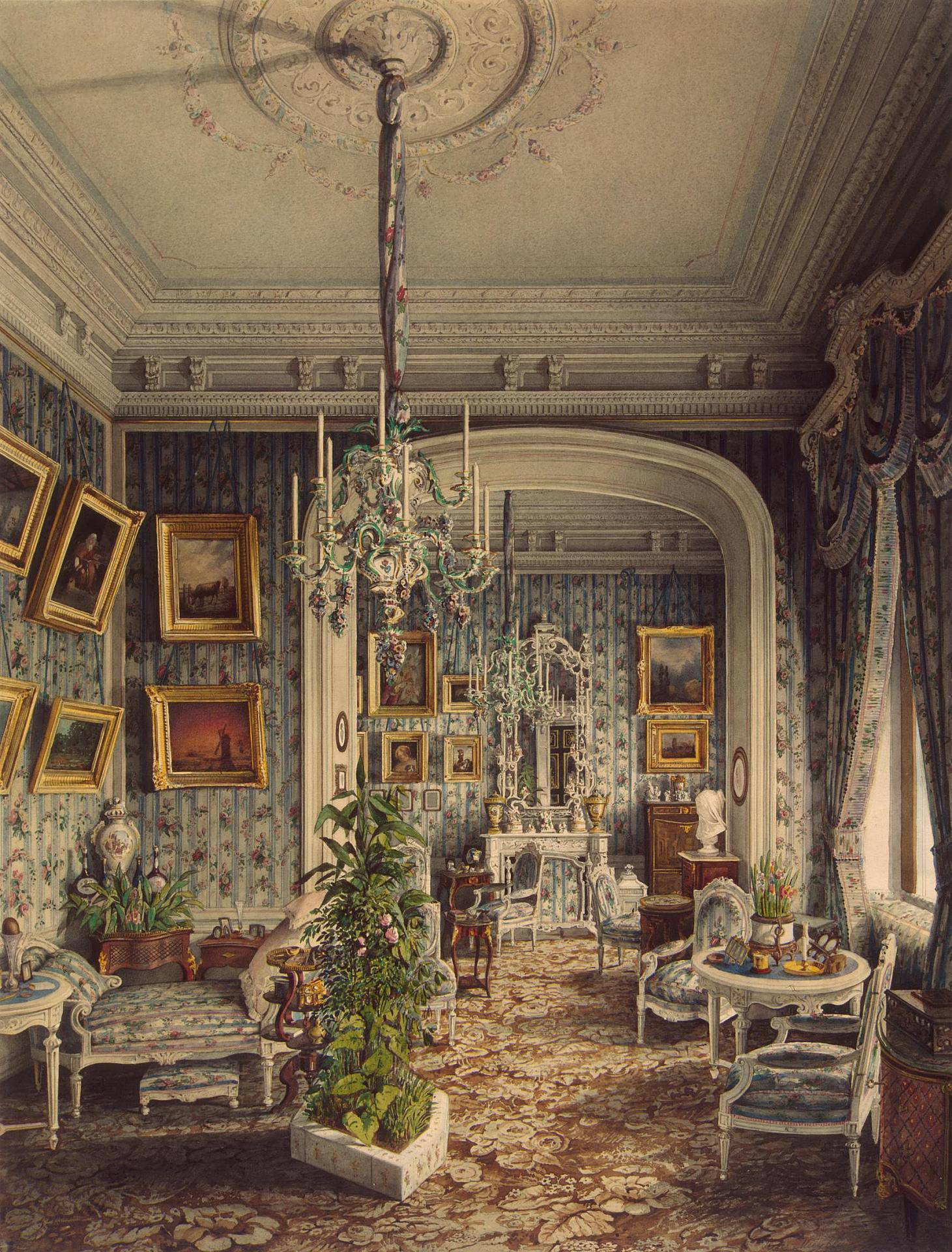 Санкт-Петербург, Строгановский дворец, 1865 год. Художник Jules Mayblum