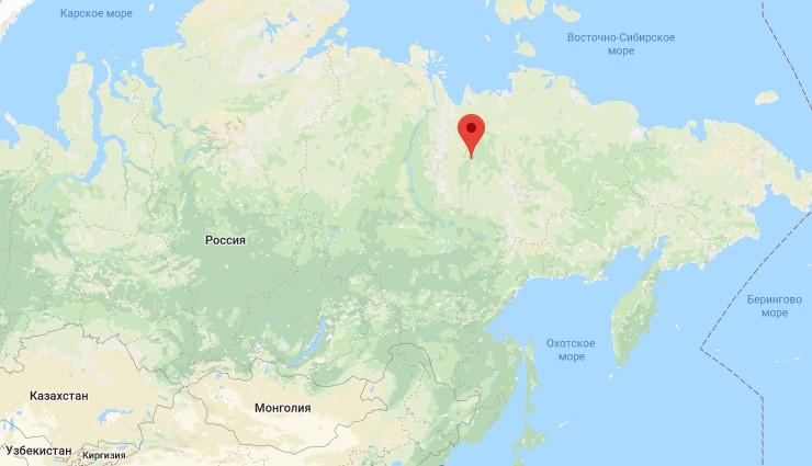 Верхоянск на карте
