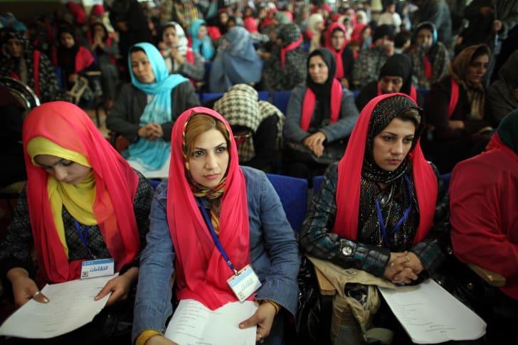 Женщины на церемонии в честь Международного женского дня в Герате, Афганистан