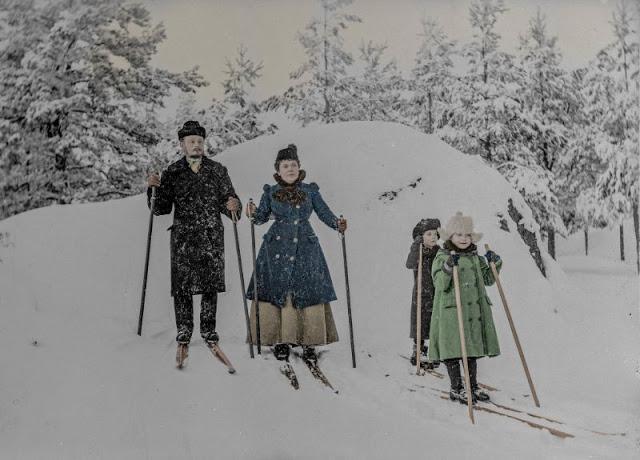 Семейная прогулка на лыжах