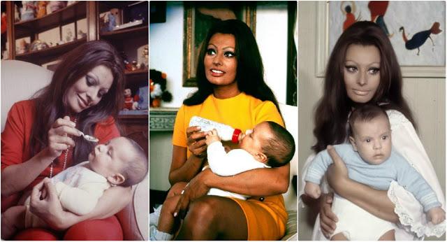 Софи Лорен и её сын Карло Понти-младший в 1969 году