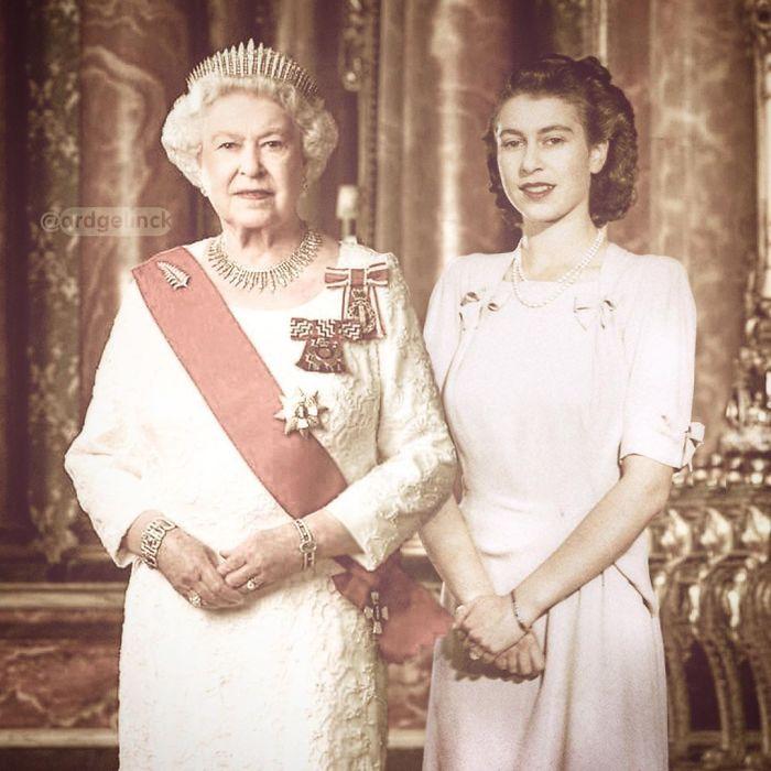 Елизавета II и её более молодая версия
