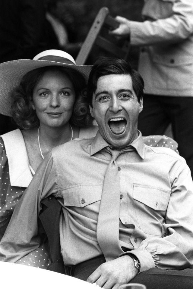 Аль Пачино с Дайан Китон на съёмках «Крестного отца», 1972 год
