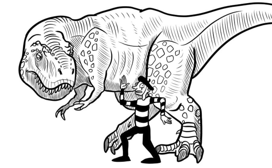Неподвижное состояние поможет спастись от тираннозавра
