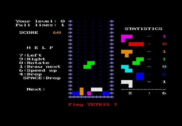Тетрис, скриншот версии для MS-DOS (1986)