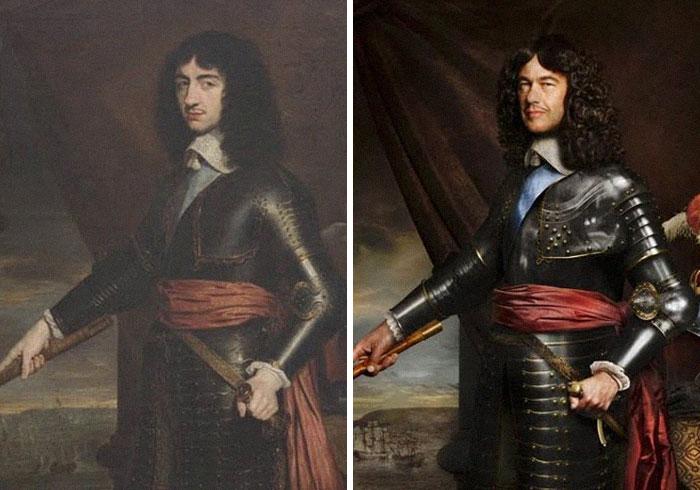 Карл II, король Англии и Шотландии, и его внук в 9-м колене лорд Чарльз Фицрой