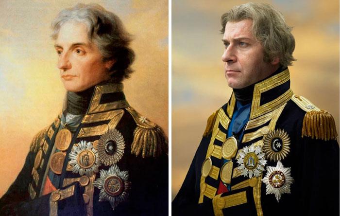Горацио Нельсон, командующий британским флотом, вице-адмирал, и его прапрапраправнук Уильям Джон Рэглан Горацио Трайб
