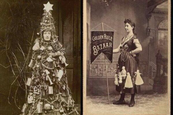Винтажные портреты женщин на рекламных баннерах XIX века