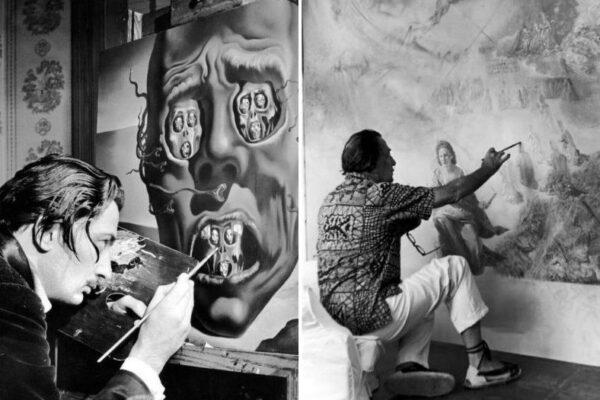Фотографии Сальвадора Дали, пишущего картины в своей мастерской