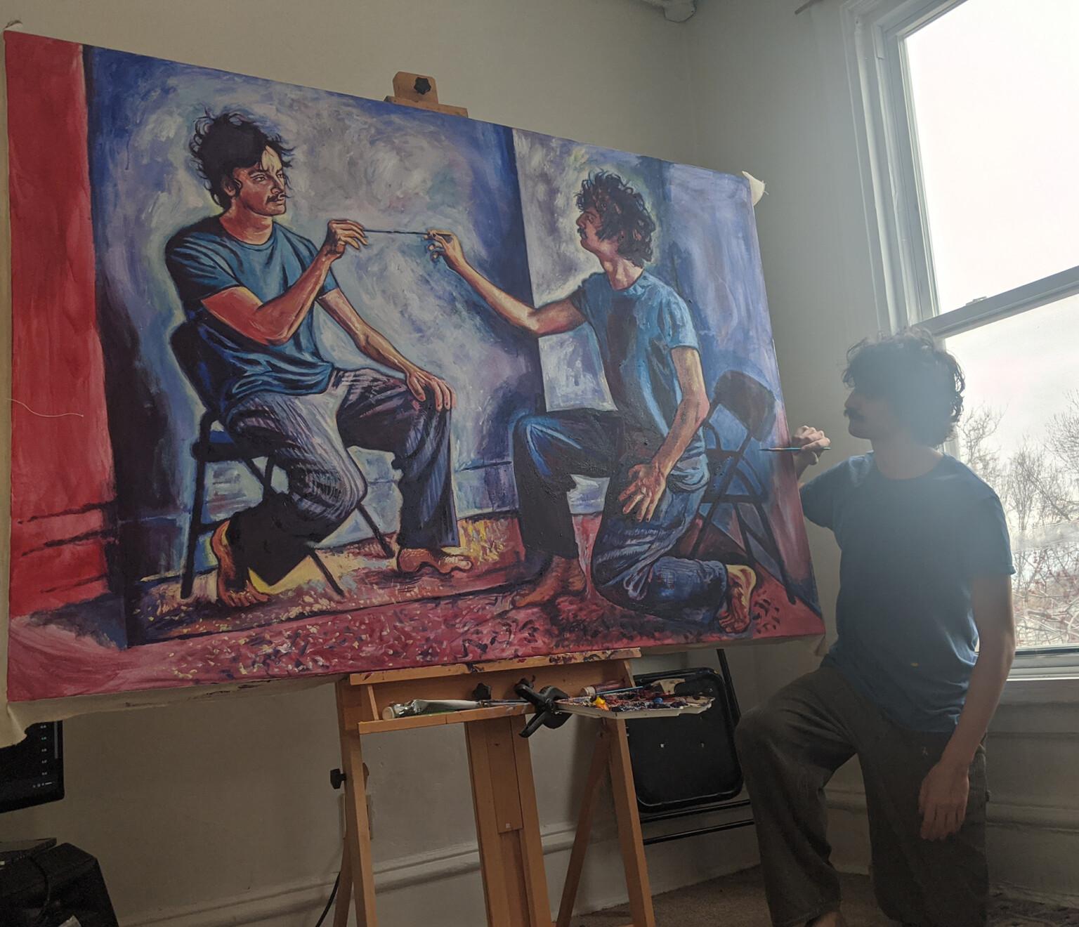 Художник пишет портреты себя, пишущего портреты себя