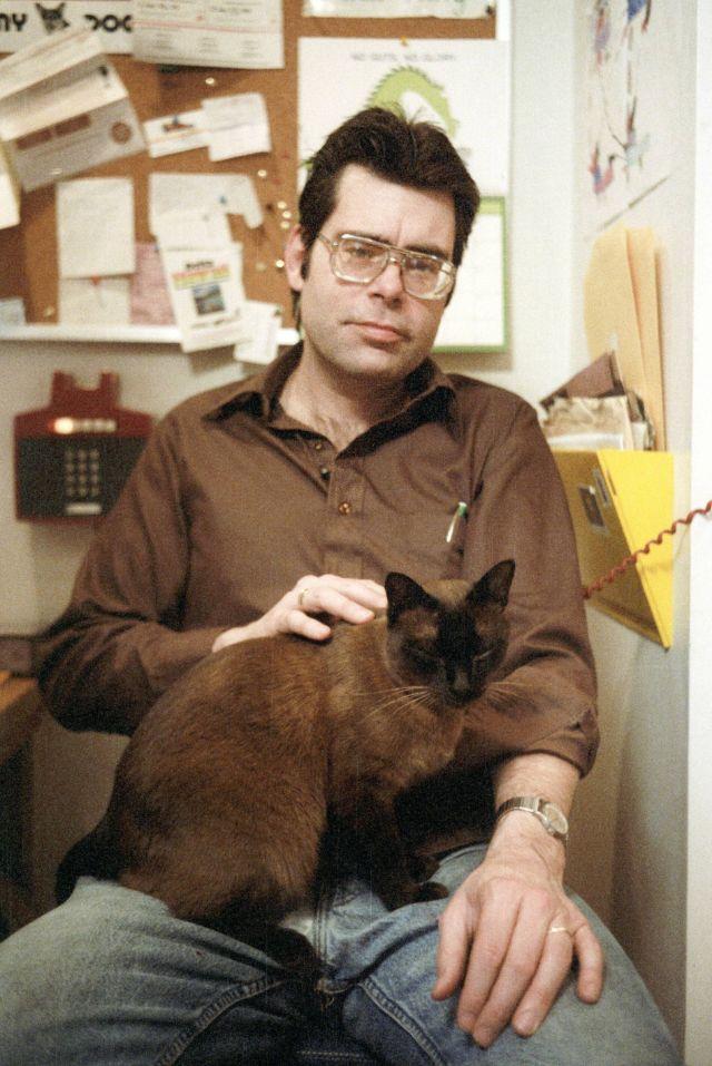 Стивен Кинг со своими любимыми кошками