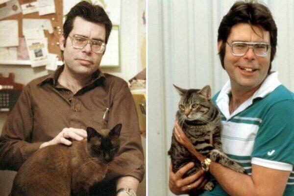 Милые снимки Стивена Кинга со своими любимыми кошками в 1980-х годах