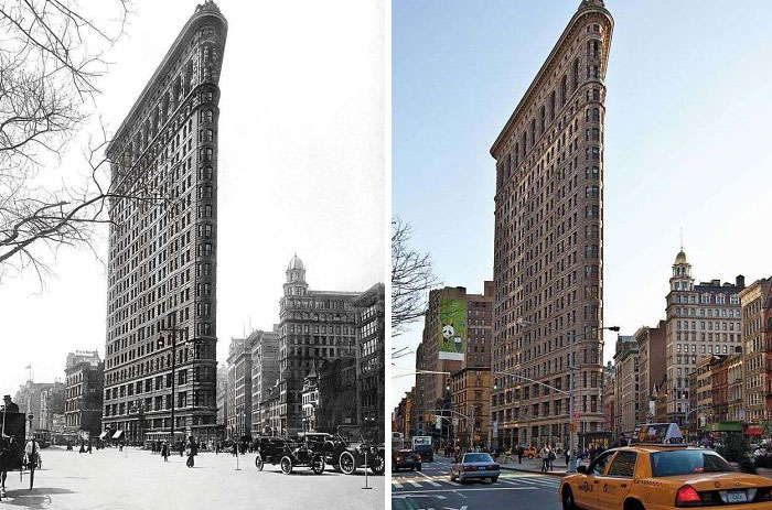 Флэтайрон-билдинг, Нью-Йорк, 1917 и 2012 года