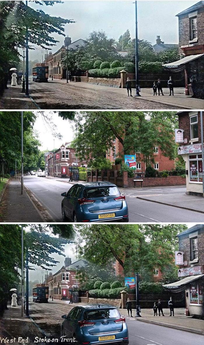 Мой родной город примерно 100 лет назад по сравнению с моим снимком, сделанным на прошлой неделе
