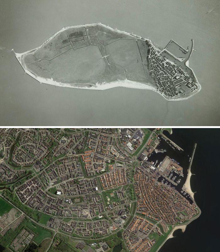 Урк в Нидерландах, который когда-то был островом, 1930 и 2020 года