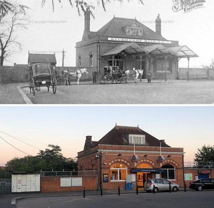 Станция лондонского метро Бакхерст-Хилл, 1875 и 2020 года