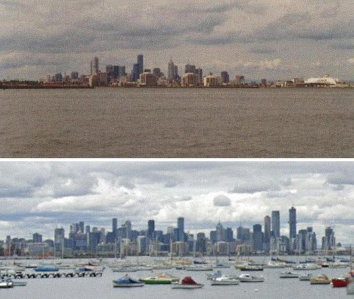 Я просто сделал этот снимок, чтобы показать, как вырос горизонт Мельбурна за 20 лет