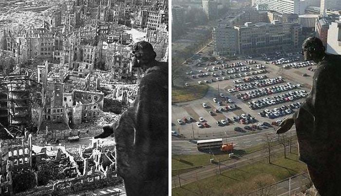 Дрезден во время Второй мировой войны и сейчас