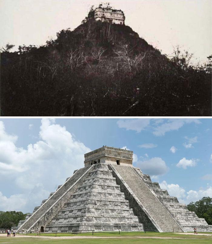 Чичен-Ица в 1892 году и сейчас