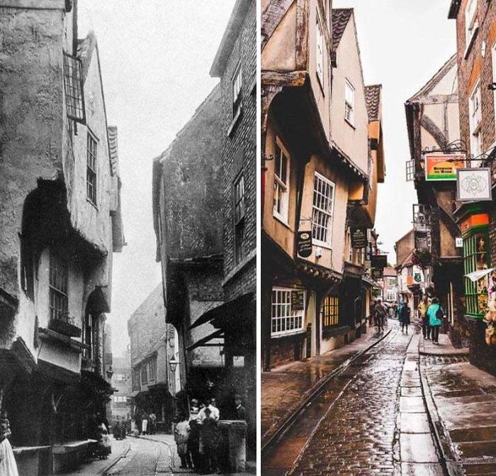 Средневековая улица Шемблз в Йорке, Великобритания, конец 1800-х годов и сегодня