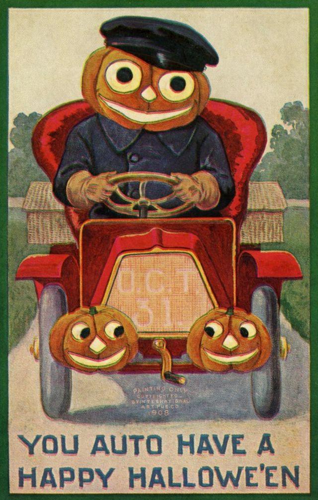 Фотографии открыток на Хеллоуин из эдвардианской эпохи