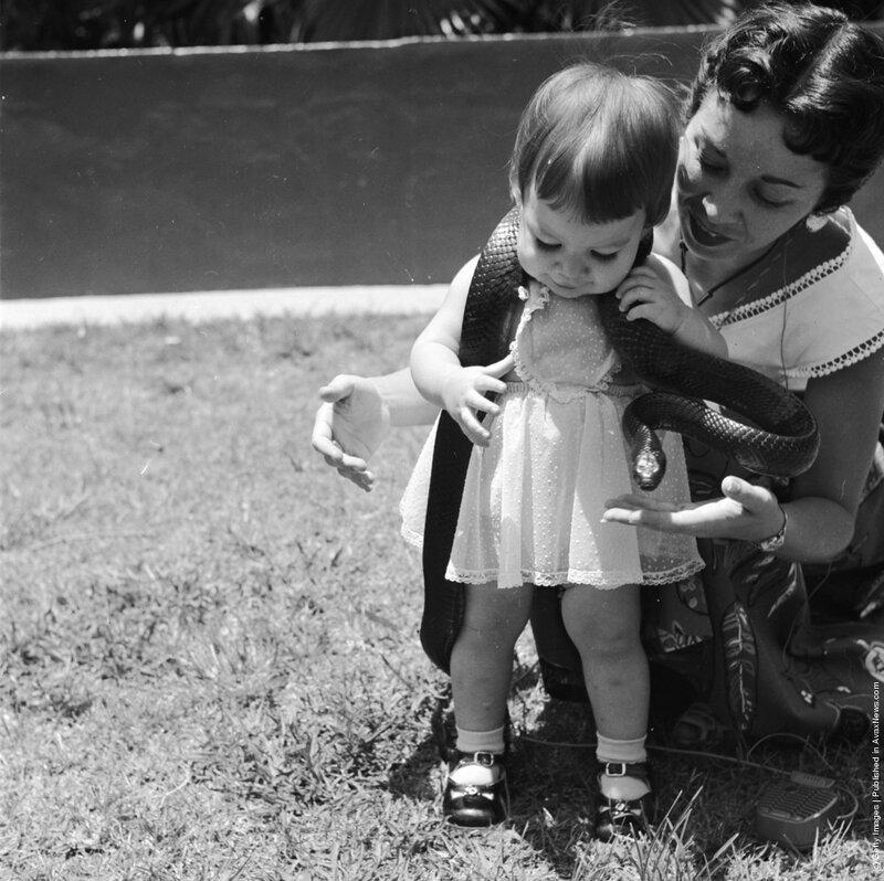 1950 год: девочка и её мама играют с безобидной змеёй в серпентарии